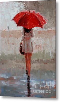 Red Umbrella ...Stepping Out Acrylic Print By Laura Lee Zanghetti