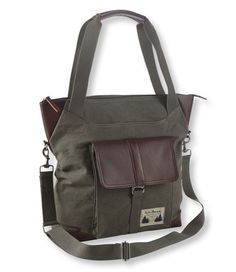 Field Canvas and Leather Tote Bag   Free Shipping at L.L.Bean  -  long and short straps.  styled after field coats.     lj