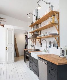Great shelving for a small kitchen!  @neverenoughglitter