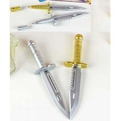 1pc Dagger Weapon Knife Shaped Ballpoint Pen Blue Refill J
