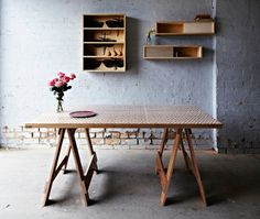 Reclaimed timber trestle table, plywood insect wall unit and plywwod cd-wall units Trestle Tables, Dining Table, Bonnie And Neil, Industrial Chic, Industrial Design, Reclaimed Timber, Wall Treatments, Living Spaces, Living Area
