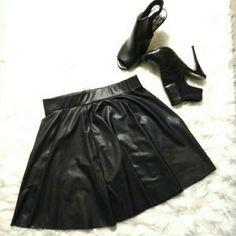 BLACK FAUX LEATHER SKATER'S SKIRT 95% polyester 5%spandex. UK2LA Skirts Mini