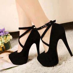 Dark black high heel stylish shoes for ladies