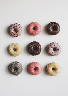 Baked doughnuts - chocolate or vanilla - with glazes - chocolate, blueberry, orange, strawberry (recipe links) | The Fauxmartha
