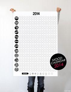 Mood Calendar For 2014! Para o ano posso adaptar: 1 página por mês e em português! E pode desenhar-se outras coisas nos círculos ou colar autocolantes...
