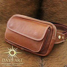 Дни искусства (Дни искусства) кожа кожа сумка из телячьей кожи кнопку талии сумка магнит карман тела сумка поясная сумка Браун