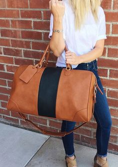 Classic striped weekender bag