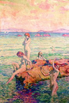 View BAIGNEUSES By Théo Van Rysselberghe; oil on canvas; Access more artwork lots and estimated & realized auction prices on MutualArt. Inspiration Art, Art Inspo, Creative Inspiration, Figure Painting, Painting & Drawing, Théo Van Rysselberghe, Art Plage, Figurative Kunst, Oil Painting Reproductions