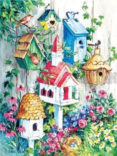 """Country Berries New Bird House Large 4/""""x10/"""" Family Primitive Fridge Magnet"""