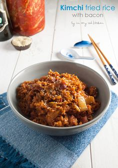 Kimchi fried rice with bacon is an easy week night meal that's packed with flavor and only needs a few ingredients. Use home made kimchi or store bought.
