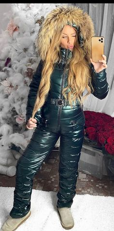 Down Suit, Winter Suit, Cold Weather, Skiing, Winter Fashion, Overalls, Leather Pants, Fur, Snow