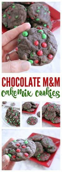 Chocolate M&M Cakemix Cookies! The perfect Holiday Cookies for Christmas! Also great for a Cookie Exchange Party! #christmas  #holidays #recipes #christmascookies