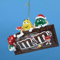 "4.5"" Chocolate Shop M&m's Characters And Candy Bag Christmas Ornament"