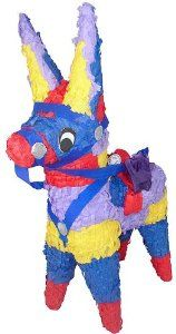 """Donkey Pinata by Fun Express. $17.00. 1 Pinata. Pinata stick and Candy/Toys sold Separately. Papier-Mache. Measures 9 1/2"""" x 21"""". Hanger Included. What is a party without a pinata? This adorable donkey pinata can be used as a nice centerpiece or for its traditional purpose which children love, especially when the pinata is filled with an assortment of candy and toys."""