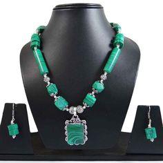 Malachite Stone Silvertone Oxidize Necklace Earring Sets India Fashion Jewellery #iba #NotSpecified