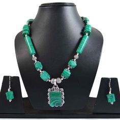 Malachite Stone Silvertone Oxidize Necklace Earring Sets India Fashion Jewellery #iba #NotSpecified
