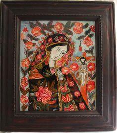 Sad Mother of God Romanian reverse icon glass handmade painted. Folk icon…