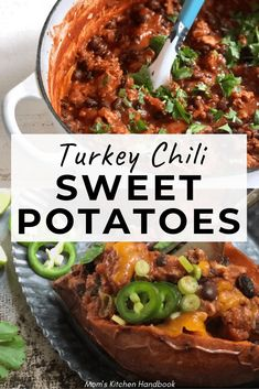 These savory turkey and black bean chili stuffed sweet potatoes are a filling and healthy meal the whole family will love. Full of flavor and protein. #momskitchenhandbook #sweetpotatoes #turkeychili #fallrecipes #comfortfood