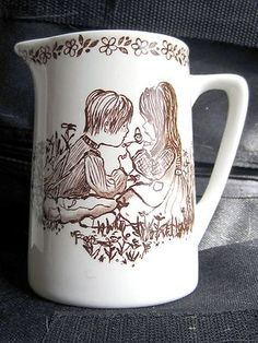 Creamer Small Pitcher by Royal Crownford Ironstone w Painting of 2 Children | eBay