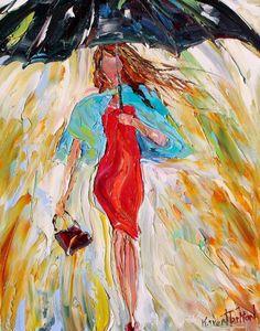 Fine art Print - Rain Dance Two - prints from oil painting by Karen Tarlton impressionistic palette knife fine art by Karensfineart on Etsy https://www.etsy.com/listing/115654452/fine-art-print-rain-dance-two-prints