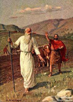 Elijah calls Elisha to help him in the service of God.