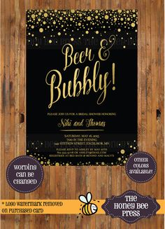Beer and Bubbly Bridal Shower Invitation - Craft Beer and Champagne Invitation - Gold Foil and Black -Item 0264  Size: 5 x 7 Wording CAN BE
