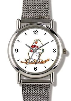 Cross Country Skiing Polar Bear Animal - WATCHBUDDY® ELITE Chrome-Plated Metal Alloy Watch with Metal Mesh Strap-Size-Small ( Children's Size - Boy's Size & Girl's Size ) WatchBuddy. $79.95