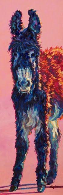 "Wildlife Art International: Contemporary Animal Painting,Donkey ""Frida"" by Contemporary Animal Artist Patricia A. Griffin"