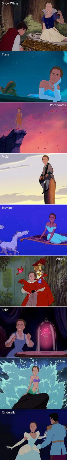 Nicolas Cage does Disney; Cinderella is my fav