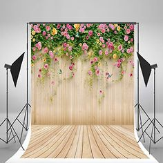 5x7ft (150x210cm) Wood Photography Backdrops Pink Flowers Background Wooden Floor Studio Backdrop for Children