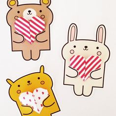 Valentine's Animal Cards - http://www.diycraftsblog.com/valentines-animal-cards/ #Animal, #Cards, #Valentines
