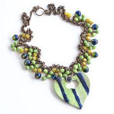 Summer Green Blue Striped Ceramic Heart Pendant Necklace, Czech Glass Beaded Fringe, Folk Art Jewelry,  Vintage Style Brass Chain & Three Charm Toggle Clasp, Handmade, #ArtwyrksJewelry, #JeraLunaDesigns