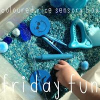 Larabee: |FRIDAY FUN|toddler activity - coloured rice sensory box