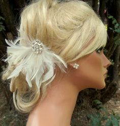 Wedding Bridal Hair Facsinator Ivory or White by kathyjohnson3