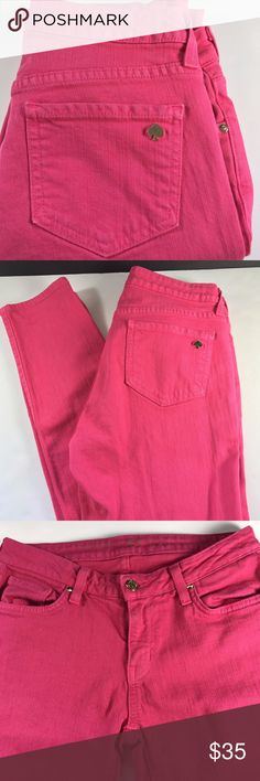 """Kate Spade Play Hooky Broome St Skinny Jean Kate Spade  Play Hooky Broome Street  Skinny  Hot pink wash  5 Pocket styling  Gold tone spade on back pocket  Gold tone hardware  Zip fly with button closure  Size 27  Measures 14"""" across waist, flat  Measures 16.5"""" at hip  Rise is 8""""  Inseam is 30""""  Leg opening is 5"""" wide, flat  Gently worn, good condition kate spade Jeans Skinny"""