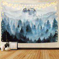 Likiyol Foggy Forest Tapestry Misty Mountain Tapestries Magical Nature Tapestry Fog Tree Tapestry Woodland Landscape Tapestry (Grey, x inches) Moon Tapestry, Tapestry Nature, Tree Tapestry, Tapestry Bedroom, Tapestry Wall Hanging, Space Tapestry, Home Design, Misty Forest, Foggy Forest