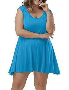 Women Plus Size Scoop Collar Sleeveless Tank Tops Summer Casual Tees 22c596972e57