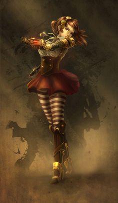 steampunksteampunk: Flying Owl & Steampunk Girl