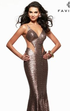 Sequined Mesh Gown by Faviana 7331