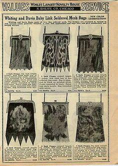 1933 Ad Whiting Davis Mesh Hand Bags Color Designs 5 inch Frame Purse Silk Lin | eBay