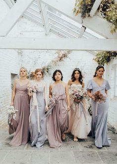 pastel spring bridesmaids Lilac Grey Bridesmaid Dresses, Whimsical Bridesmaids Dresses, Bridesmaid Dresses Different Colors, Brides And Bridesmaids, Wedding Dresses, Bridesmaid Color, Dream Wedding, Wedding Goals, Wedding Things