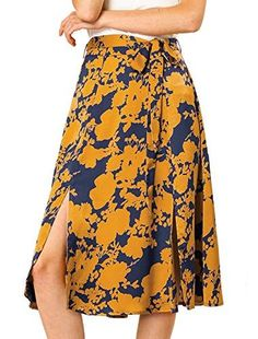 Shop Allegra K Women's High Waist Front Slits Belted A-Line Floral Midi Skirt. Free delivery and returns on eligible orders.#womendress #dress