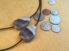 Couples set of two stone necklaces, grey Banded Agate, brown leather cord, best friends by Atelier63 on Etsy