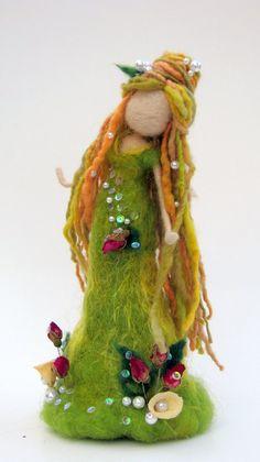 Items similar to Art doll Needle felted Fantasy Fairy Waldorf inspired doll Woolen Tree guardian Home decor on Etsy Felt Angel, Felt Fairy, Felt Embroidery, Felting Tutorials, Waldorf Dolls, Fairy Dolls, Handmade Felt, Craft Activities For Kids, Felt Dolls