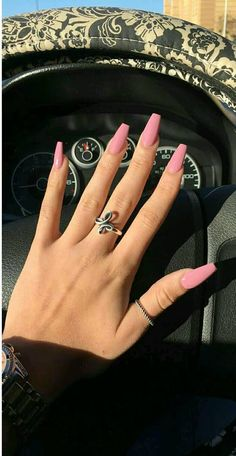 10 Most Eye-Catching Spring Nails Acrylic Coffin - - Contrary to what the name might have you believe, acrylic coffin nails have very little to do with death. Instead, the term refers to the coffin-like shape of the acrylic nails in question. Aycrlic Nails, Coffin Nails, Pink Coffin, Matte Pink Nails, Toenails, Stiletto Nails, Summer Acrylic Nails, Best Acrylic Nails, Pink Acrylics