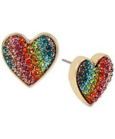 Betsey Johnson Gold-Tone Pavé Rainbow Heart Stud Earrings | macys.com