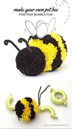 Cute Pom Pom Craft - How to make a pom pom bee How to make a Pom Pom Bumble Bee Pot Mason Diy, Mason Jar Crafts, Crafts To Make, Crafts For Kids, Arts And Crafts, Crafts With Wool, Yarn Crafts, Sewing Crafts, Sewing Tips