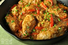 Peanut Chicken Skillet - Low Carb, Gluten Free - 1 1/2 lb chicken breast, cut into tender sizes pieces sea salt and pepper 2 tbsp butter 2 tbsp olive oil 1 red bell pepper (about 3.5 oz), julienned 3 cloves garlic, minced 3/4 cup chicken stock 1/3 cup natural peanut butter, creamy 3 tbsp soy sauce or coconut aminos (get it here) 1/2 tsp crushed red pepper flakes 3 green onions, chopped