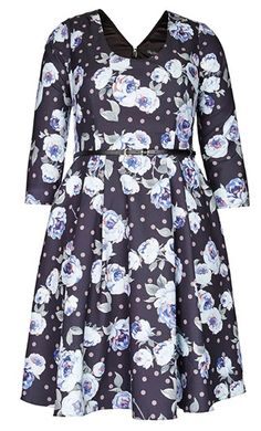 Our Vintage Floral Dress epitomises style and sophistication. Covered in a head turning vintage floral print, this dress features a scoop neckline, ¾ sleeves, fitted waist with stylish belt, concealed zipper on reverse with hook and eye fastening and is l Plus Size Fashion Dresses, Plus Size Outfits, City Chic Online, City Chic Dresses, Plus Size Vintage, Fit Flare Dress, Vintage Floral, Clothes For Women, Daughters