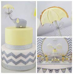 Yellow and Grey Elephant themed baby shower via Kara's Party Ideas KarasPartyIdeas.com Printables, cake, decor, tutorials, recipes, cupcakes, favors, and MORE! #elephant #babyshower #yellowandgray